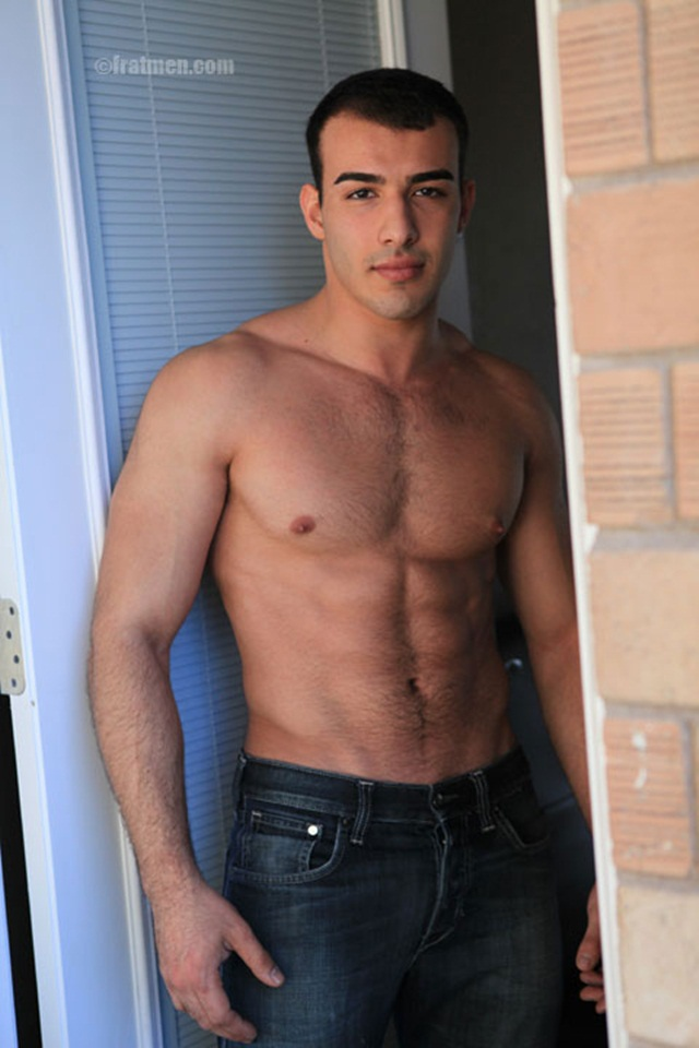 Hairy chest handsome Fratmen Otto jerks off after pumping iron in bed and shower