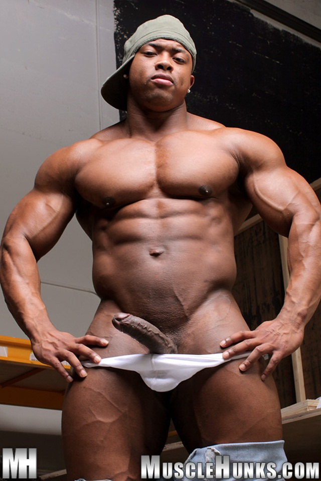 Muscular Ebony Handling His Huge Dick