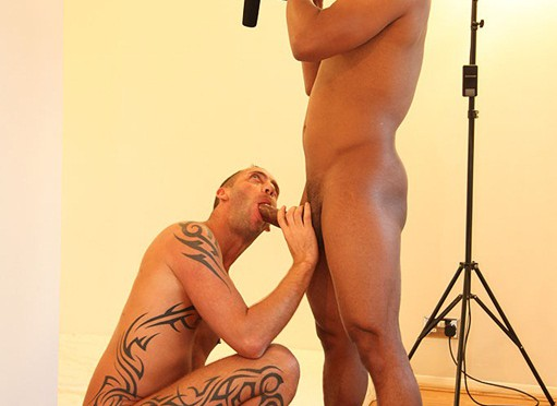 Drew Brody, black gay, 12 inch cock, ass fucks Romeo at UK Naked Men