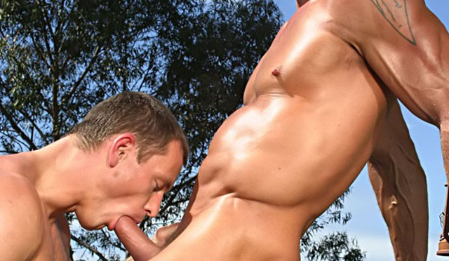 Jake Andrews and Chris Wide sweaty real man sex at Colt Studios