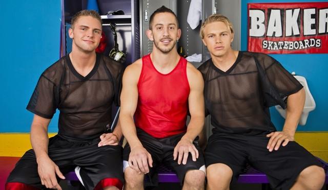 Next Door Buddies – Locker room ass bust with Brady Jensen, Campbell Stevens and Bryan Cole