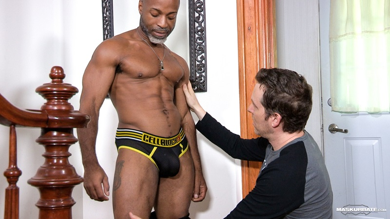 Pascal sucks down hard on DILF Robert's 9 inch black cock