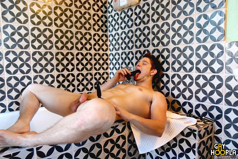 Sexy young hunk Adam Mcbride assplay with gay sex toys