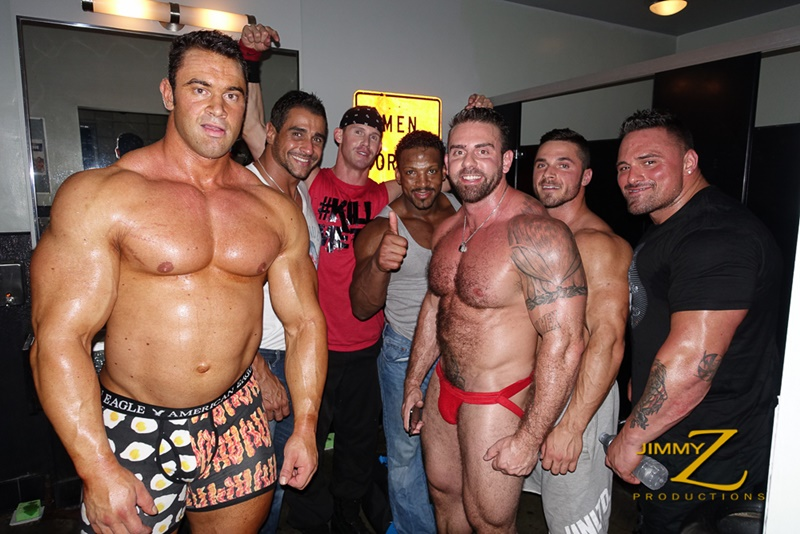 Jimmy Z Productions presenting sexy bodybuilders big muscle men Jackson Gunn and Xavier