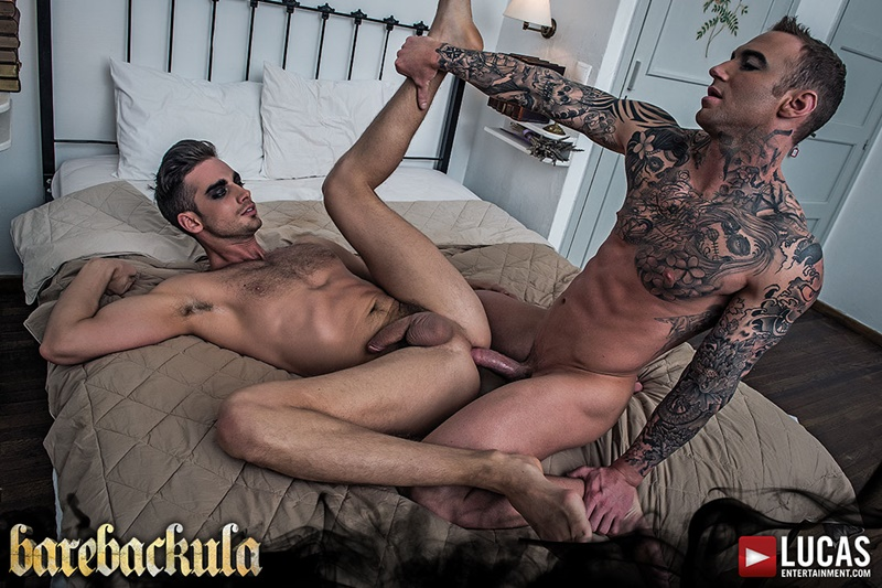 Lucas Entertainment Damon Heart's big thick muscle dick bareback fucking Dylan James' tight muscled asshole