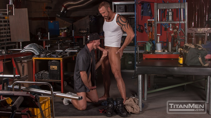 Dallas Steele and Mitch Vaughn flip-fuck in the machine shop
