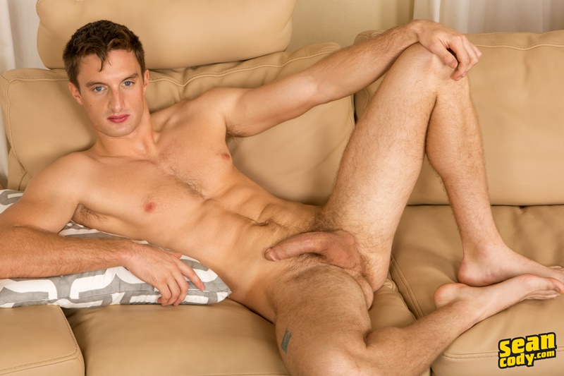 Sexy young muscle boy Sean Cody Jakob strips naked and jerks his big dick