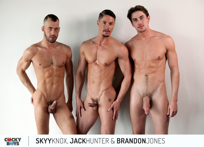 Newbie Cocky Boy Skyy Knox gets double prenetrated by Jack Hunter and Brandon Jones