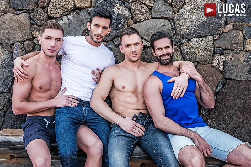 Hot muscled hunks Andrey Vic, Bogdan Gromov, Dani Robles and Andy Star bareback ass fucking orgy
