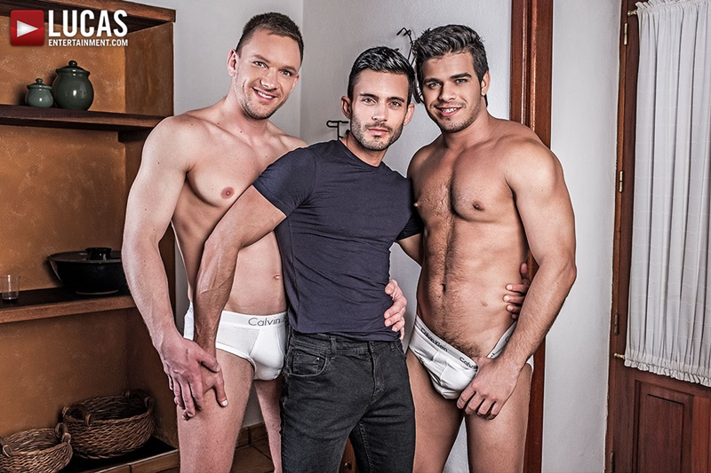Andrey Vic mounts Rico Marlon then slides his raw dick inside Andy Star's tight ass hole