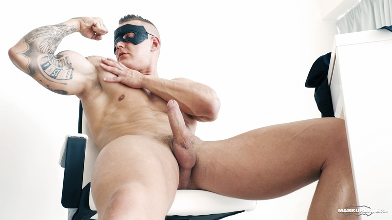 Masked Luke Ward jerks his huge boner to a massive cum shot jizz explosion