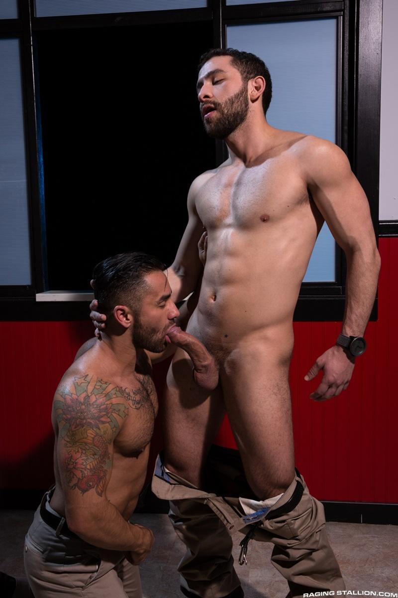 Bruno Bernal hits his knees and is met with Lucas Allen's huge fat uncut dick