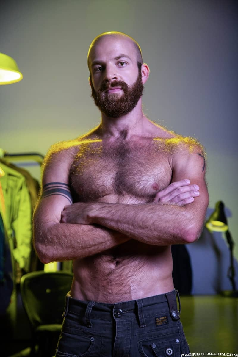 Men for Men Blog Devin-Totter-James-Stevens-bearded-facial-hair-thick-big-dick-sucking-rimming-ass-RagingStallion-002-gay-porn-pictures-gallery Devin Totter bounces up and down on James Stevens' thick pole until his ass is wide open Raging Stallion
