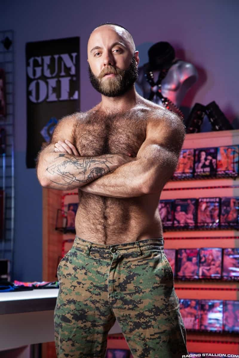 Men for Men Blog Teddy-Bear-Nigel-March-naked-Hairy-hunk-fucked-huge-cock-at-Raging-Stallion-002-gay-porn-pictures-gallery Horny stud Teddy Bear rolls over on his back and lets Nigel March slam his ass Raging Stallion