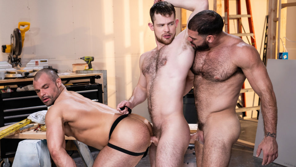 Men for Men Blog 74821_01_01 Hardcore gay threesome Ricky Larkin and Jaxx Thanatos spit roast Kurtis Wolfe's hot asshole Raging Stallion