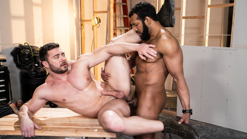 Men for Men Blog 74821_05_01 Derek Bolt moans with each thrust from Jay Landford's huge cock pummeling his hot asshole Raging Stallion